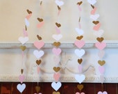 1st Birthday Heart Backdrop - Pink and Gold Heart Curtain -Wedding Backdrop - Bridal shower decor - baby shower decor- Your color choices