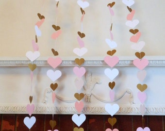 1st Birthday Heart Backdrop - Pink and Gold Heart Curtain - Wedding Backdrop - Bridal shower decor - baby shower decor- Your color choices