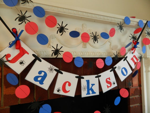 Spider man party decorations spiderman banner birthday for Spiderman decorations