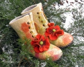 Felted slippers - Poppies - women high wool in-house shoes boots with leather soles - ready to ship US 7.5 - 8