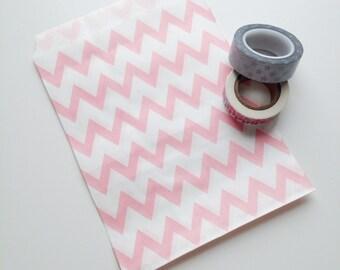 "Light Pink Chevron Treat Bag 5"" x 7"" Kraft Paper Food Safe Recyclable Favor Bags Pink Chevron"