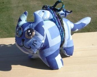 Blue spirals Odd-eyed lucky cat plush with a fish toy art doll neko homeless kitty