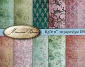 Digital Scrapbooking Papers pack // vintage  pink green  //  Flowers, roses, damask // decoupage, scrap  // 8.5 x 11 in sheets,  14   (44us)