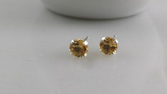 Sterling Silver Gemstone Stud Earrings - Birthstone Earrings - 5mm Citrine (November)