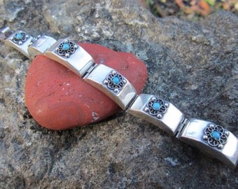 Vintage Very Old Sterling Silver Blue Stone Mexican Bracelet