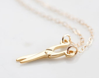 Tiny Scissors Necklace Gold Filled Chain Craft Scissors Charm Miniature Seamstress Hairstylist Jewelry - N256