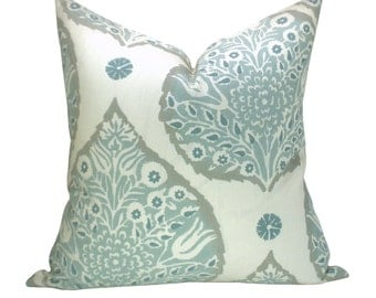 FABRIC RESERVE - Galbraith & Paul Lotus pillow cover in Mineral on Cream Linen