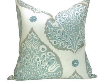 Lotus pillow cover in Mineral on Cream Linen