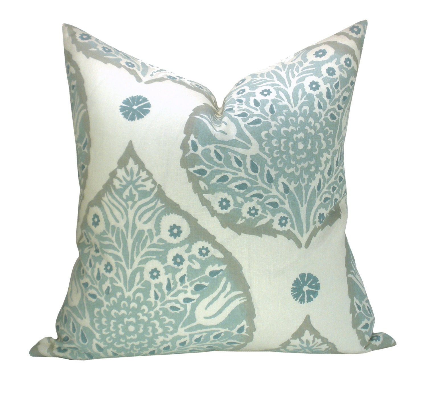 Modern Lotus Pillow : Lotus pillow cover in Mineral on Cream Linen