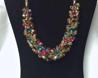 Vintage Multi Colored Rhinestone Necklace Dangling Rhinestones Goldtone