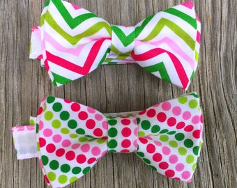 bowtie for baby - bow tie for boys - easter Bowtie - pink bow tie - Pink Bowtie - Pink and green tie - ties for boys - bow ties for toddlers
