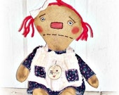 HANDMADE Primitive Folk Art Extreme Grunged Raggedy Annie Doll
