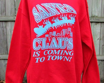 ugly christmas sweater vintage puff paint santa claus is coming to town sweatshirt  l xl usa