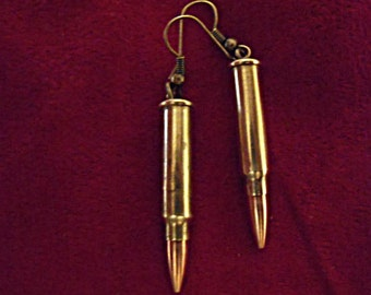 Steampunk Bullet Dangle Earrings,  Petite Brass With Bronze Ear Wires,  Womens Gift  Handmade
