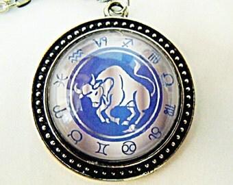 Silver Glass Pendant Necklace,  Zodiac Symbol Taurus  Mens Womens Gift  Handmade