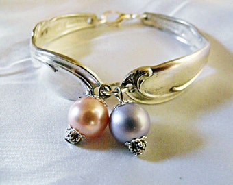 Silver Spoon Braclet, Womens Vintage Spoon Bracelet With Pink And Lavender Pearls  Womens Gift  Handmde