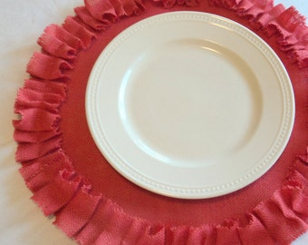 Round Burlap Placemats with Ruffles Pick Your Color Handmade Burlap Placemats Special Table Settings Showers Weddings Home Decor