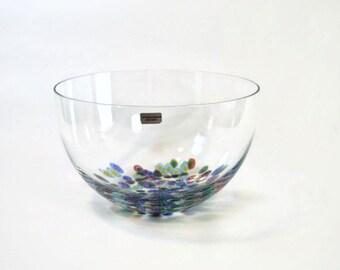 Vintage Lindshammar Sweden Millefiore Glass Bowl // Swedish Clear Art Glass Salad / Serving Bowl
