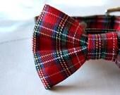 Red Tartan Plaid Bow Tie Dog Collar