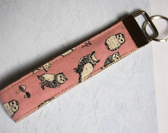 Cotton Linen Pink Owls Fabric Keychain, Key Fob, Wristlet