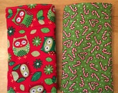Christmas Owls and Candy Cane Suck Pads - Drool pads for Ergo or Tula Baby Carriers - Red and Green Festive Shoulder Strap Protectors