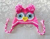 Neon Pink, Hot Pink and White Owl Crochet Hat - Photo Prop - Available in Any Size or Color Combination