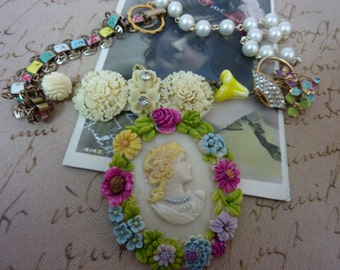 Reserved for J.  Sold....PRETTY MAID early plastic cameo vintage assemblage necklace so Antique