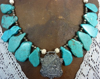 Vintage Assemblage watch fob Necklace turquoise