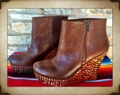 Tan Wedge Studded Booties size 9