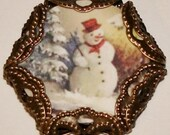 Vintage snowman charm small glass top cabochon image bead diy jewelry