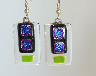 Dangling Earrings Dichroic Glass Blue Squares With Accent Of Green