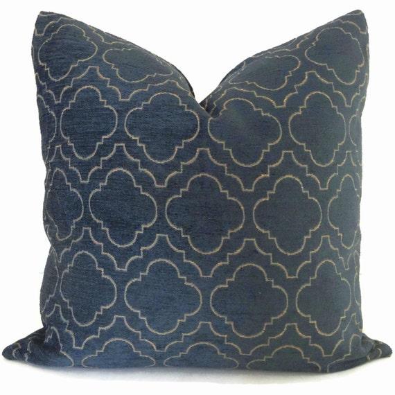 Blue Chenille Throw Pillows : Items similar to Kravet Blue Chenille Trellis Decorative Pillow Cover 18x18 20x20 22x22 Eurosham ...