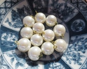 Pearl Buttons Filigree Bead Cap Metal Loop 10mm (36)