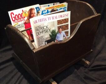 Cradle magazine rack-solid wood vintage rocking cradle style magazine rack-books or magazines holder-vintage storage for books/magazine rack