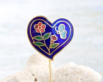 Cloisonne Heart Stick Pin in Colorful spring Enamels - Vintage Lapel Pin