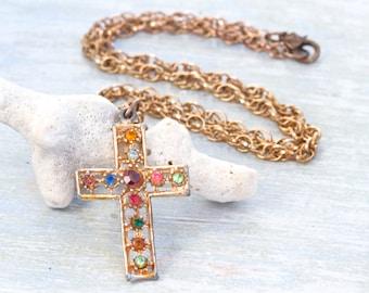 Colorful Rhinestones Cross Necklace - Boho Religious Jewelry