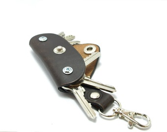 Extremely convenient keychain key holder from dark brown cowhide Holds 4-8 regular keys free monogramming or name personalized belt hanger