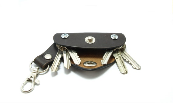 Extremely convenient keychain/ key holder from dark brown cowhide Securely holds 4-6 regular keys. free monogramming personalized for dad