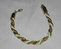 Monet Twisted Pearl and Gold Toned Beaded Bracelet