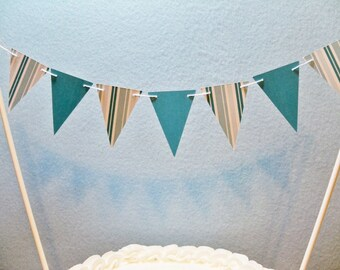 Teal Cake Topper Banner, Stripes and Solids