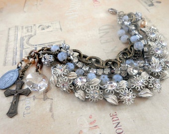 Multi Strand Bracelet, Assemblage,Vintage Repurposed, Recycled, Upcycled, Mixed Media, Religious, Cross, Enamel Flower, Rhinestone, Rosary