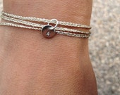 SIENNA - Personalized Wrap bracelet tiny round engraved charm - Sterling silver or Gold Filled charm and glitter cord