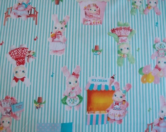 SALE Urason Dreamy Bunny Kawaii Fabric in Mint Stripe by Kokka (Half Yard)