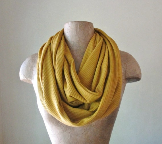 MUSTARD YELLOW Scarf - Yellow Ochre Infinity Scarf - Ribbed Knit Circle Scarf - Fall Fashion Scarf