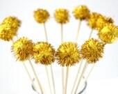 12 Gold Pom Pom Drink Stirrer, Tinsel Drink Topper, Wedding, Great Gatsby Party, Party Decor