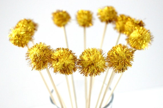 12 Gold Pom Pom Drink Stirrer, Tinsel Drink Topper, Wedding, Great ...