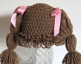 Cabbage patch wig-hat 9-12 months cafe brown (you choose bow color)