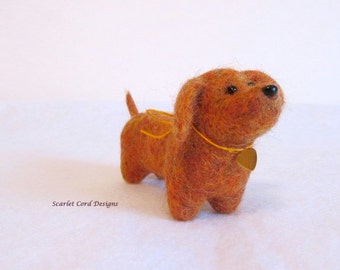Needle Felted Orange Dog, Soft Sculpture, Felted Animal Miniature, Dachshund, Art Doll