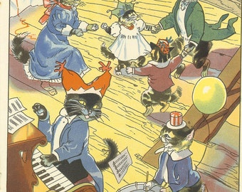 Vintage 1948 Children's Print By Hilda Boswell Black Cat Plays Piano Kitten Plays Drums Cat Family Party Cartoon Cats Vintage Book Plate