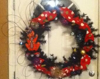Large black  colorful cat  wreath